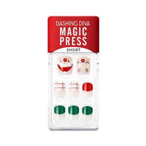 DASHING DIVA Magic Press Wonder Red Short Mani Rudolph Santa MDR827SS