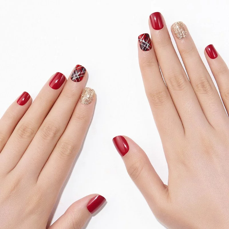 DASHING DIVA Magic Press Wonder Red Short Mani Surprise Me MDR831SS