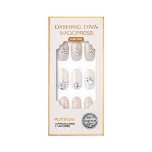 DASHING DIVA Magic Press Wedding Platinum Swarovski Mani My Lily MPL002OL