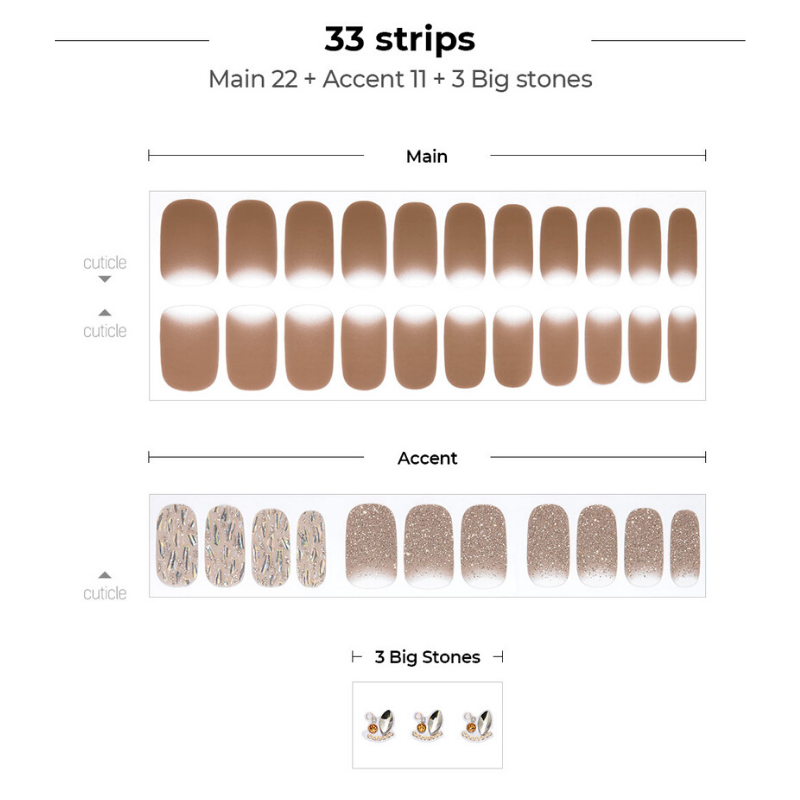 DASHING DIVA Gloss Gel Strip Big Stone Mani Taupe Musk GVP188B