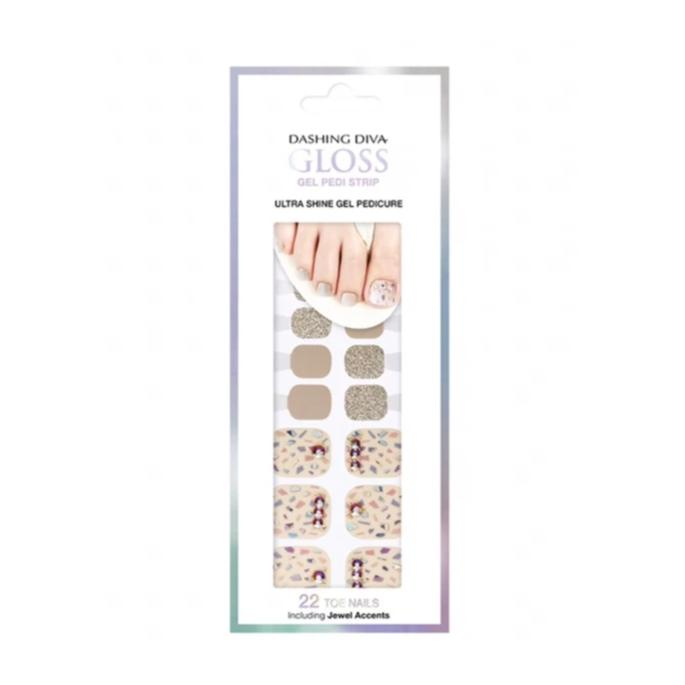 DASHING DIVA Magic Gel Strip Pedi Beige Slip GPS49