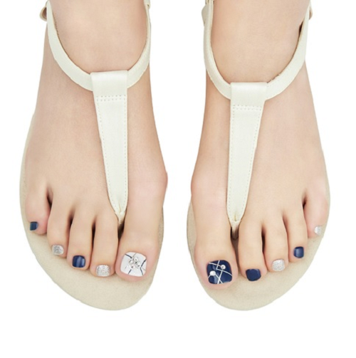 [BEST BUY] Dashing Diva Magic Gel Strip Pedi Bling Jewel White & Navy DGST76P