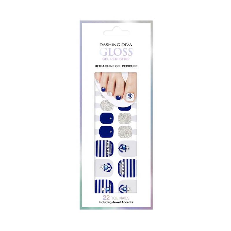 [BEST BUY] DASHING DIVA Magic Gel Strip Pedi Blue Anchor GPS14