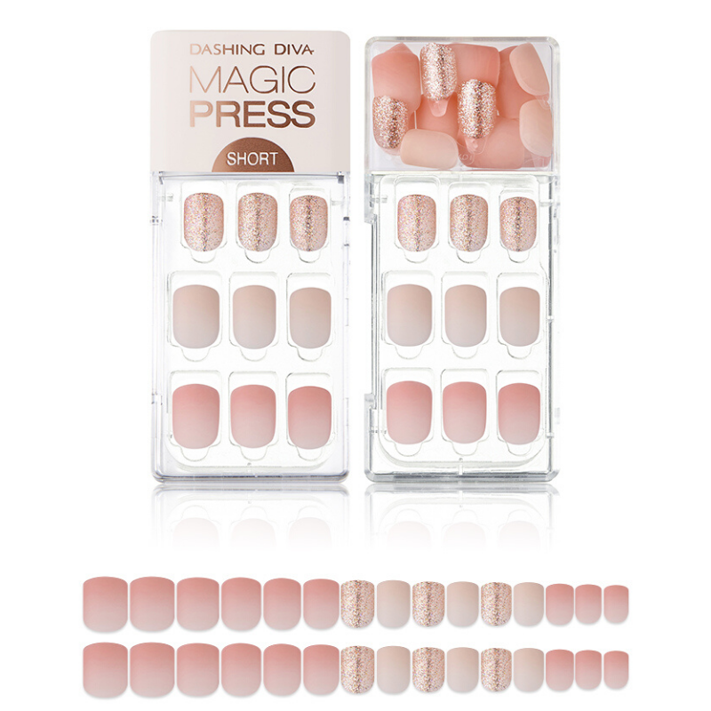 DASHING DIVA Magic Press Mani Short Pink Sparkling MDR596SS (SOFT SHINE)