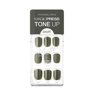DASHING DIVA Magic Press Tone Up Mani Short Juniper Khaki MDR522SS