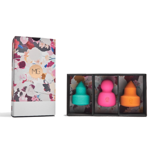 MISS GORGEOUS Cleansing Puff & Makeup Sponge Set (3EA) Green, Fuchsia & Orange