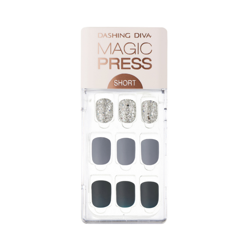 DASHING DIVA Magic Press Short Mani Blue Shine MDR588SS (GLAM MOVE)