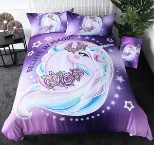 Purple Unicorn Duvet Cover Set