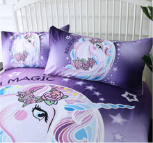 Load image into Gallery viewer, Purple Unicorn Duvet Cover Set