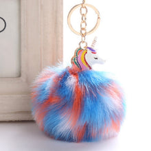 Load image into Gallery viewer, Unicorn Pom Pom Plush Keychain/Unicorn Keychain Pendant