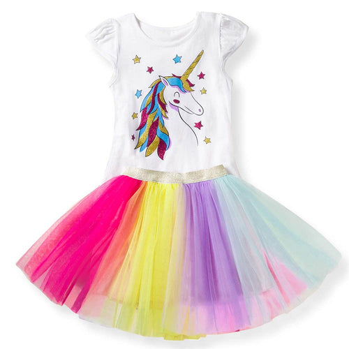 Unicorn T shirts + Rainbow Tutu Skirt Two Piece Set