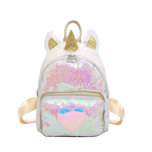 Gold Silver Sequins Unicorn Backpack