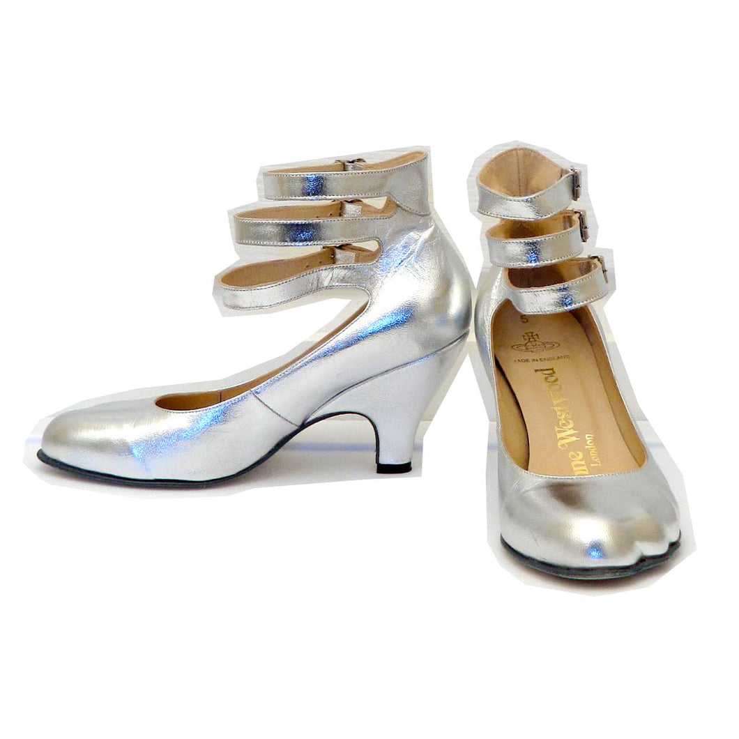 Vivienne Westwood Gold Label Low Heel Three 3 Strap Silver Heels Pumps