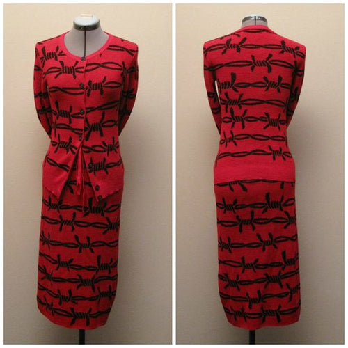 Vivienne Westwood Anglomania AW 2013 Cashmere Blend Barbed Wire Knit Set in Red