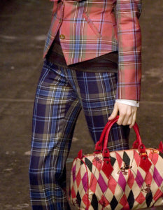 Vivienne Westwood Red Label AW 2009 Maclean of Duart Tartan Wide Collar Jacket and Pockets Mini Skirt Suit