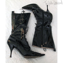 Load image into Gallery viewer, Vivienne Westwood Low Heel Pointed Toe Patent Leather Lace-up Boots