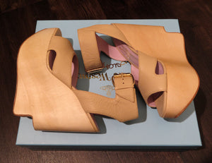 Vivienne Westwood Anglomania Label Victoria Platform Sandals in Natural Leather