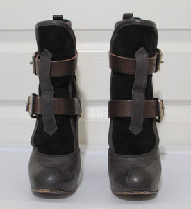 Vivienne Westwood Accessories Label Powerstation Heel Bondage Boots Black Canvas