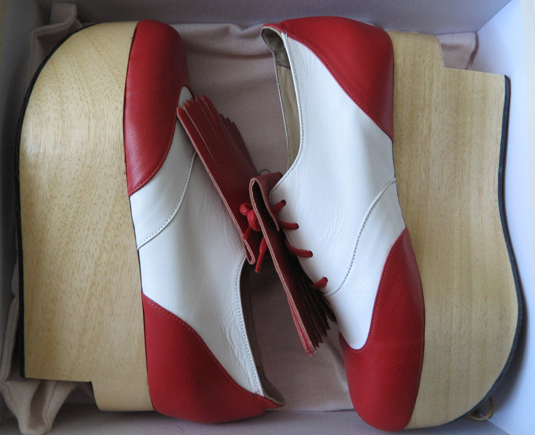 Vivienne Westwood Gold Label Rocking Horse Shoes Golfs Red and White Kid Leather