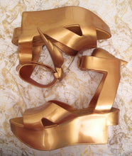 Load image into Gallery viewer, Vivienne Westwood Melissa Rocking Horse Shoes Winged Slave Sandals Gold