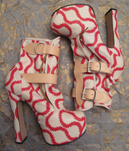 Load image into Gallery viewer, Vivienne Westwood Gold Label Elevated Bondage Boots in Red and White Squiggle Leather