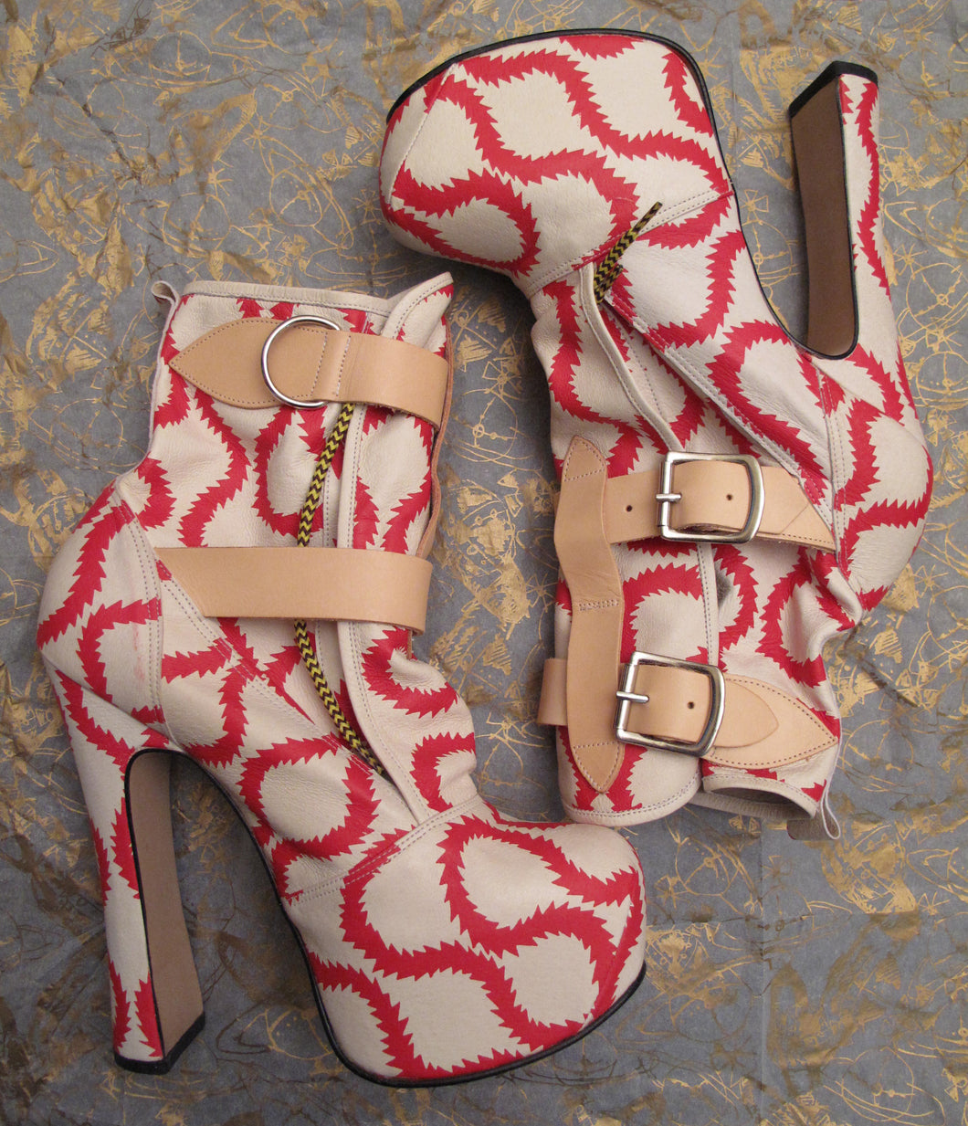 Vivienne Westwood Gold Label Elevated Bondage Boots in Red and White Squiggle Leather