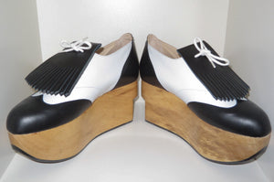 Vivienne Westwood Gold Label Rocking Horse Shoes Golfs Black and White Kid Leather