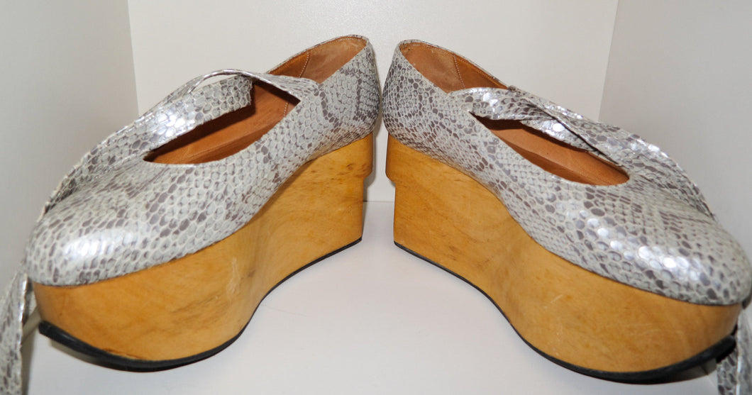 Vivienne Westwood Vintage 1980s Gold Label Rocking Horse Shoes Ballerina Grey Python