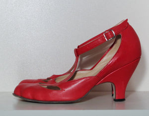 Vivienne Westwood Gold Label Low Heel T-Strap Red Leather