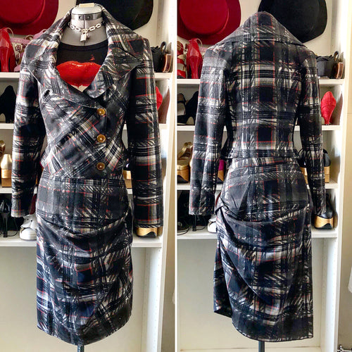 Vivienne Westwood Red Label 2006 Graffiti Tartan Jacket and Skirt Suit