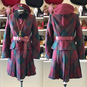 Vivienne Westwood Japan Label mid-2010s Lindsay Tartan and Black Velvet Trim Skirt Suit