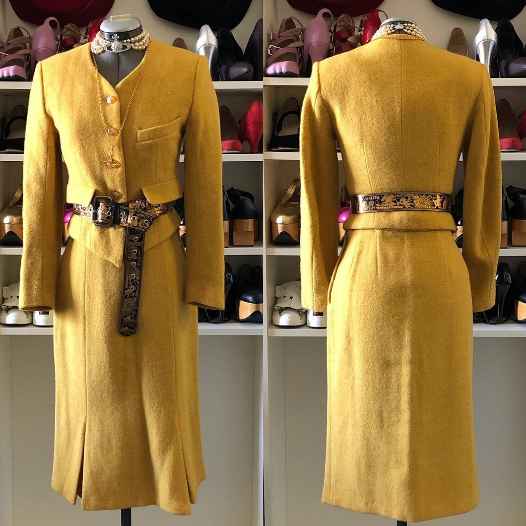 Vivienne Westwood Vintage 1988-89 Yellow Harris Tweed Skirt Suit