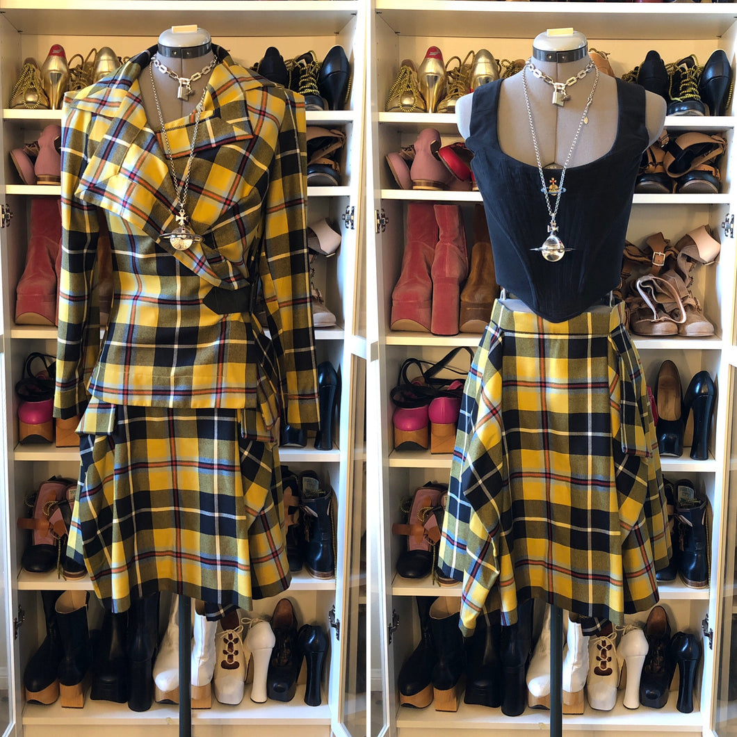 Vivienne Westwood Anglomania AW 2010 Yellow Tartan Skirt Suit