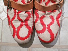 Load image into Gallery viewer, Vivienne Westwood Gold Label Pirate Boots Red and White Squiggle Print Leather