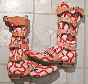 Vivienne Westwood Gold Label Pirate Boots Red and White Squiggle Print Leather