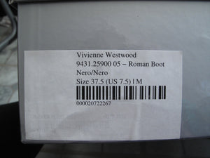 Vivienne Westwood Accessories Label Roman Boot Nero Black Suede and Patent Leather