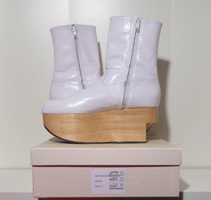Vivienne Westwood Gold Label Rocking Horse Shoes Boots White Kid Leather