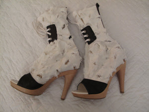 Vivienne Westwood Accessories Label Cut and Slash Bag Clogs White Canvas Wooden Sandal Boots Heels