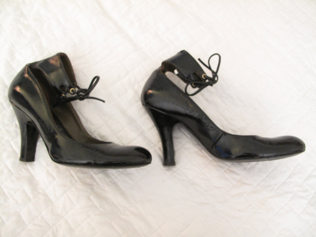 Vivienne Westwood Accessories Label Black Patent Ankle Strap Pumps Heels Shoes