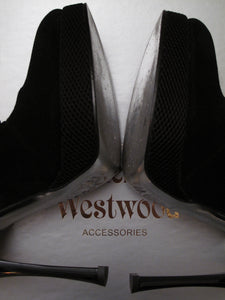 Vivienne Westwood Accessories Label Stilleto Black Suede Strappy Pumps