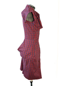 Vivienne Westwood Worlds End Shirtwaister Button-up Dress Red Micro Tartan
