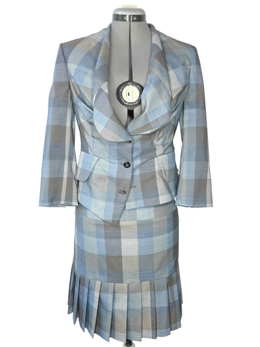Vivienne Westwood Red Label Giant Check Alcoholic Jacket and Pleated Skirt Suit
