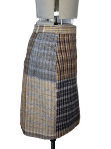 Vivienne Westwood Gold Label Vintage 1996 Breanish Foggy Tweed Grey Brown Pencil Skirt