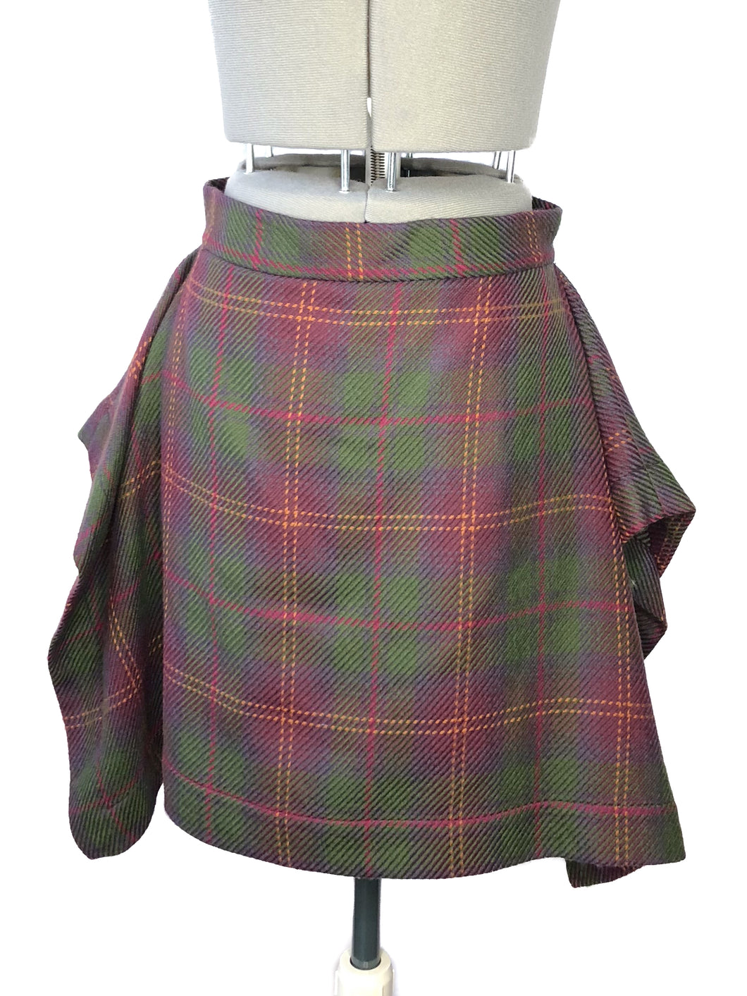 Vivienne Westwood Anglomania Red Green Tartan Folded Skirt