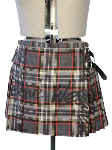 Vivienne Westwood for Nine West 2006 Signature Tartan Dark Grey Wool Mini Kilt