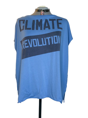 Vivienne Westwood Worlds End Climate Revolution Square T-Shirt Blue Cotton