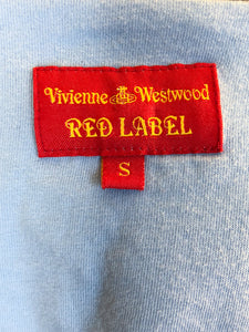 Vivienne Westwood Red Label Blue Cotton Sleeveless Top with Red Heart Print