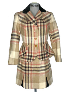 Vivienne Westwood Vintage 1995 Red Label Tan Metro Tartan Velvet Trim Clutch Skirt Suit