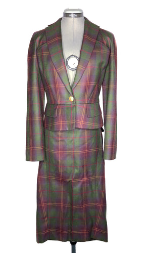 Vivienne Westwood Red Label Red Green Tartan Bustle Skirt Suit