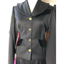 Load image into Gallery viewer, Vivienne Westwood Vintage 1996 Caped Jacket Skirt Suit in Dark Grey with Velvet Trim